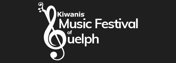 Kiwanis Music Festival of Guelph logo (white on black)